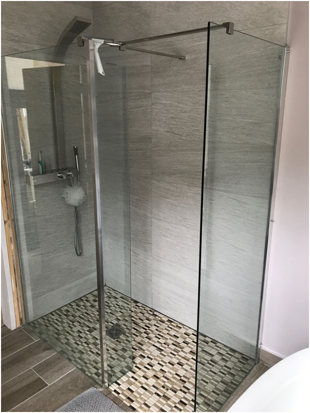 Walk-in Shower with Mosaic Tiles